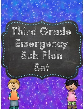 Third Grade Emergency Sub Plan Worksheet Printable & Digital - Distance Learning