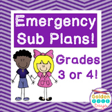 Substitute Plans Third and Fourth Grade  ~One Full Day~ Emergency Plans