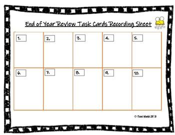 Third Grade End Math Review Task Cards