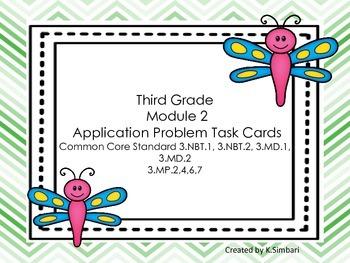 Third Grade EngageNY Math Module 2 Application Problem Task Cards