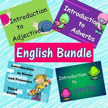 Third Grade English Bundle - Nouns, Pronouns, Verbs, Adverbs, Adjectives