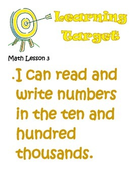Third Grade Envisions Learning Targets/I Can Statements (Units 1 -8)