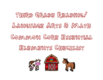 Third Grade Essential Element Data Sheets
