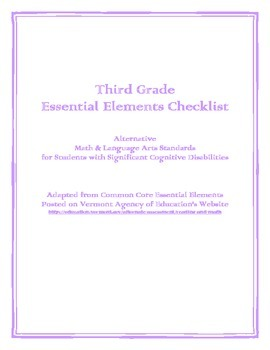 Third Grade Essential Elements Checklist