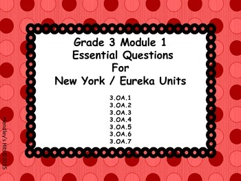 Third Grade Eureka Module 1 Essential Questions