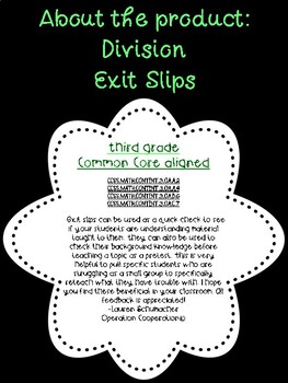 Third Grade Exit Slips: Division