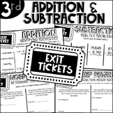 Third Grade Exit Tickets Addition and Subtraction