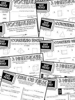 Third Grade Exit Tickets Geometry