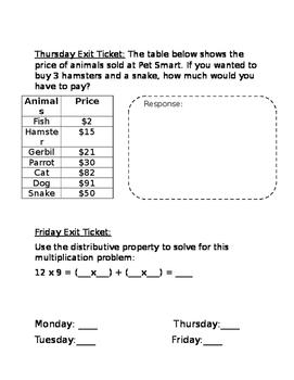 Third Grade Exit Tickets-Multiplication