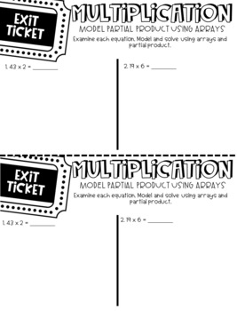 Third Grade Exit Tickets Multiplication and Division Problem Solving