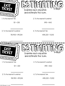 Third Grade Exit Tickets Place Value