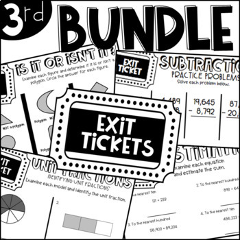 Third Grade Exit Tickets for the Year BUNDLE