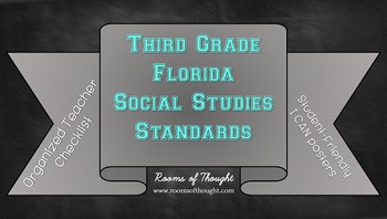 "Third Grade FL Social Studies Standards Checklist & ""I Can..."" Posters"