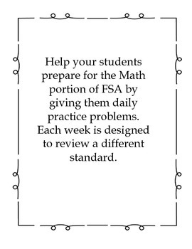 Third Grade FSA Assessment Math 35 Day Countdown Days 31-35