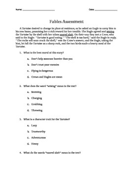 Third Grade Fables Assessment