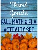 Third Grade Fall Math & ELA Packet *Common Core Aligned*