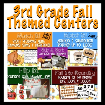 Third Grade: Fall-Themed Math Centers {Bundled}