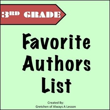 Third Grade Favorite Authors List