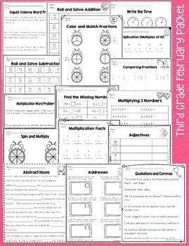 Third Grade February / Valentine's Day No Prep Math & Literacy Packet