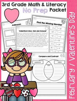 3rd Grade February / Valentine's Day No Prep Math & Literacy Packet