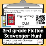 Third Grade Fiction Library Scavenger Hunt Cards with QR Codes