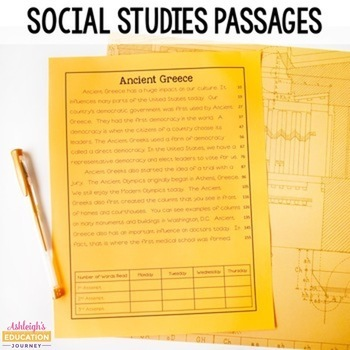 Fluency Passages for 3rd and 4th Grade {Integrated Science and Social Studies}