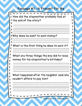 Third Grade Fluency and Comprehension Passages Set A (Pass