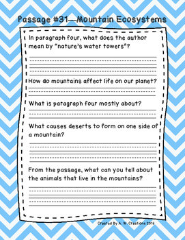 Third Grade Fluency and Comprehension Passages Set D (Pass