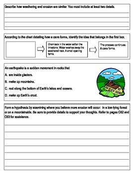 """Third Grade """"Forces that Shape the Land"""" Common Core Science Test/Assessment"""