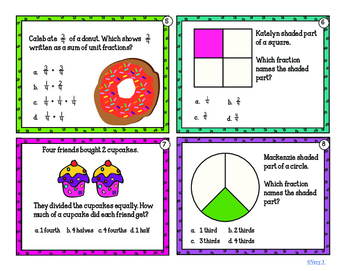 Third Grade Fraction Problems with or without QR Codes 3.3 a-e