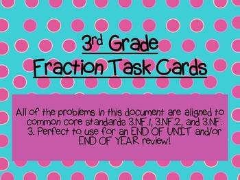 Third Grade Fraction Task Cards: 3.NF.1, 3.NF.2, 3.NF.3