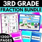 3rd Grade Fractions Bundle - Fraction Worksheets Games Activities