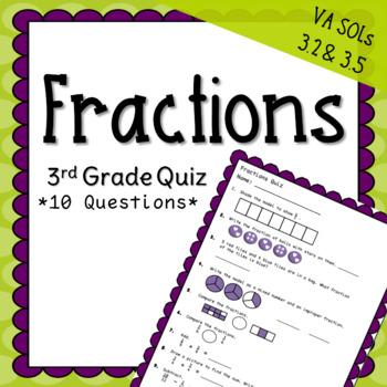 Third Grade Fractions Quiz