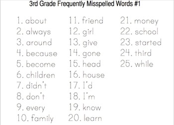 3rd Grade Frequently Misspelled Words mp4 Spelling Lesson