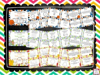 Third Grade Full Year of Spiral Math Task Cards