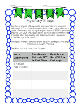 Third Grade Geometry Performance Task FREEBIE