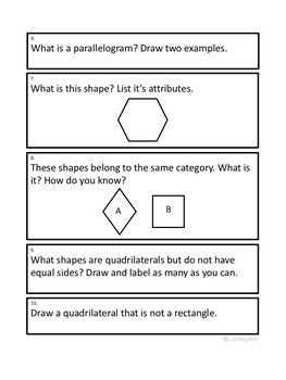 Geometry: Problem Solving Journal Prompts