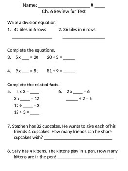 Third Grade - Go Math - Ch. 6 Review for Chapter test by ...