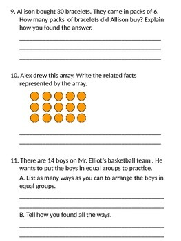 Third Grade - Go Math - Ch. 6 Review for Chapter test
