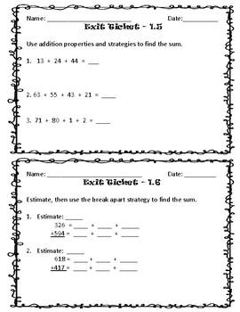 Third Grade Go Math Exit Tickets