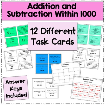 Addition and Subtraction Third Grade Task Cards/Scoot