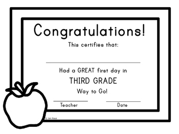 First Day of School Certificate - Third Grade / Grade Three
