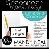 Print + Digital Third Grade Grammar Activities (Parts of a