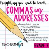 Third Grade Grammar and Language Unit on Commas in Addresses