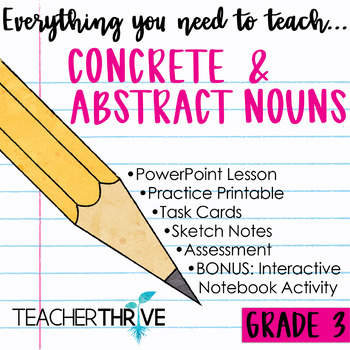 Third Grade Grammar and Language Unit on Concrete and Abstract Nouns