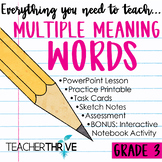 Third Grade Grammar and Language Unit on Multiple Meaning Words