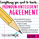 Third Grade Grammar and Language Unit on Pronoun-Antecedent Agreement
