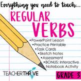 DISTANCE LEARNING Third Grade Grammar and Language Unit on Regular Verbs