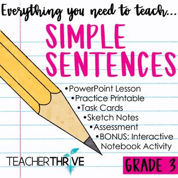 Third Grade Grammar and Language Unit on Simple Sentences