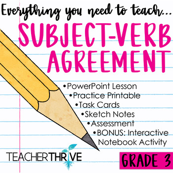 Third Grade Grammar And Language Unit On Subject Verb Agreement Tpt